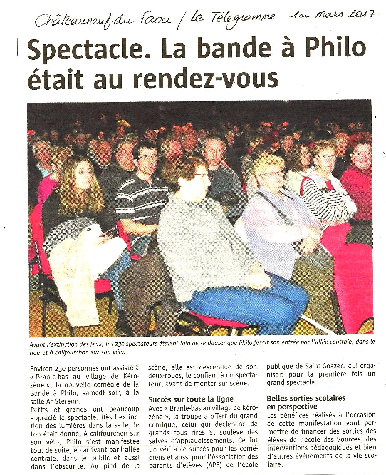 Suite Châteauneuf du Faou Le Télégramme 01-03-17
